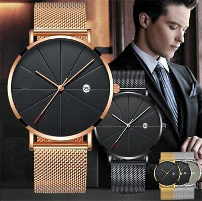 Trendy Men Ultra Thin Minimalist Watch Slim Steel Strap Stainless Steel Quartz 6