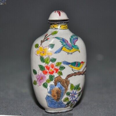 Marked Ancient dynasty China bronze Cloisonne Plum blossom Magpie snuff bottle 2