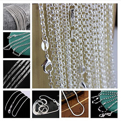 """925 Sterling Silver Figaro Snake Rolo Box Chain Necklace Unisex Jewelry 16""""-30"""" 8"""