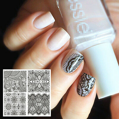 Nail Art Water Decals Stickers Transfers Black Lace Roses Wedding Gel Polish 2