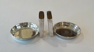 Pair Vintage Sterling Silver Individual Ashtrays with Match Holder 5