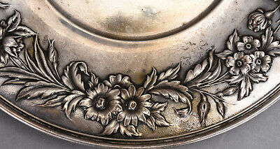 """S. Kirk & Son Sterling Silver 10"""" Plate #727 w/ Floral Repousse Border 10.52 ozt 3"""