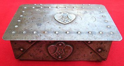 Antique Signed Scarce Small Hand Wrought Iron Box  By Goberg ~ Circa 1915 4
