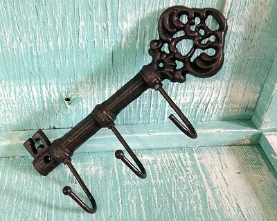 Chamber Skeleton Key Hook Cast Iron Wall Mount Rustic Old Fashioned Vintage New 4