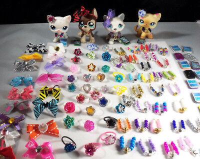 Littlest Pet Shop LPS  Accessories Custom  Lot: 1 Necklace 1 Bow 1 Cell Phone 3