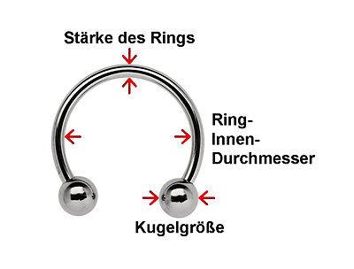 Titan Intim Brust Ohr Piercing Hufeisen Ring CBR Circular Barbell in 8mm Stärke