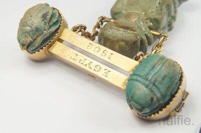ANTIQUE 15K GOLD ANCIENT EGYPTIAN FAIENCE SCARAB / DEITY SOUVENIR BROOCH c1900