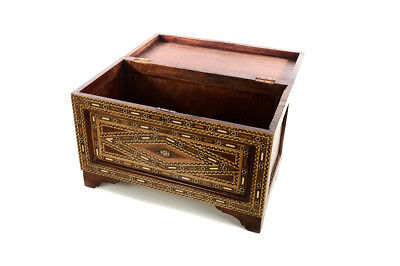 Beautiful Moroccan Inlaid Vintage Trunk Chest w/Geometric design