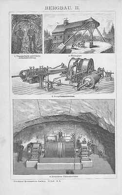 BERGBAU Bergwerk Clausthal Goslar Zeche Holzstich von 1904 Pferdegöpel 2