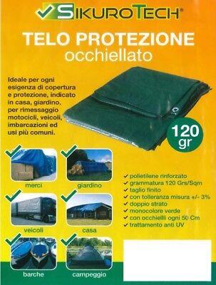 Telo Occhiellato Pesante 120 Gr/mq Verde Copertura Protezione Merci Giardino 5