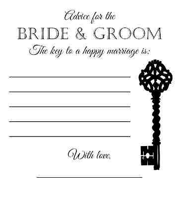 WEDDING GUEST FAVOUR Words of Advice Wisdom Table Trivia Cards Bride ...