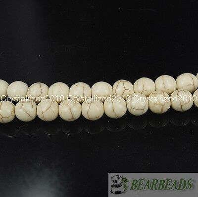 "White Howlite Turquoise Gemstone Round Beads 2mm 3mm 4mm 6mm 8mm 10mm 12mm 15"" 2"