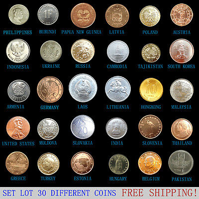 Set Lot 30 PCS Coins From 30 Different Countries, Most UNC, FREE SHIPPING! Korea 2
