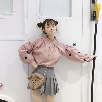 Japanese Sweet Girl Embroidery Long Sleeve Top Lolita Blouse Woman Harajuku New