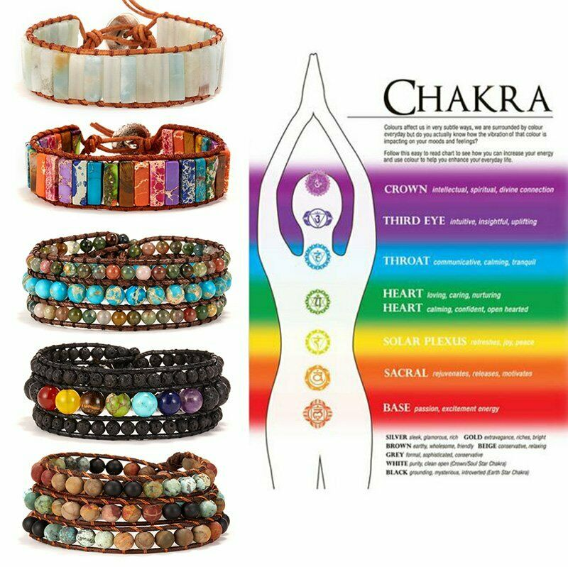Chakra Natural Stone Tube Beads Bracelet Handmade Rope Wrap Bangle Jewelry Gifts 6