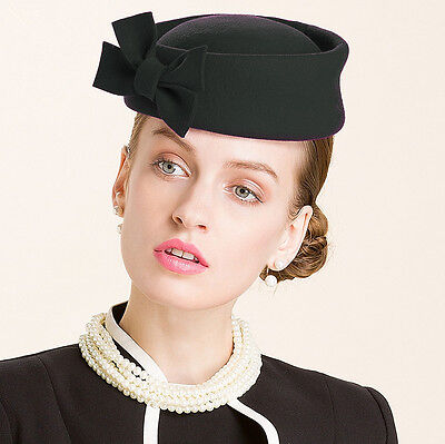 Ladies Beret Felt Wool Fascinator Bridal Wedding Pillbox Royal Ascot Hat T184 2