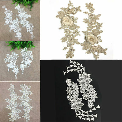 1 Pair DIY Embroidery  Lace Applique Sewing Wedding Dress Trim Craft Flora Patch 2