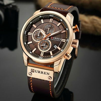 Men Waterproof Leather Aviator Army Military Chronograph Date Quartz Wrist Watch