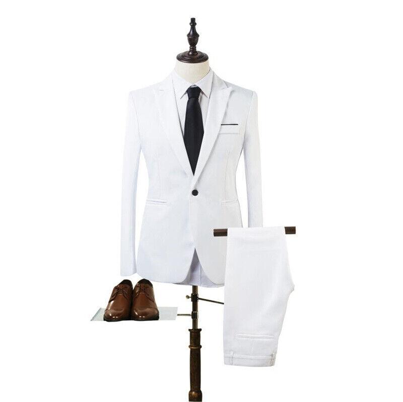 Mens Slim Fit Formal Business Work Tuxedos Suit Blaze Coat Pants Wedding Prom 4