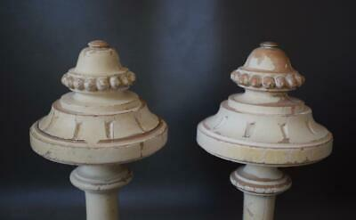 French Gustavian Architectural Pair Curtain Rod White Painted Wood Finial Post 3