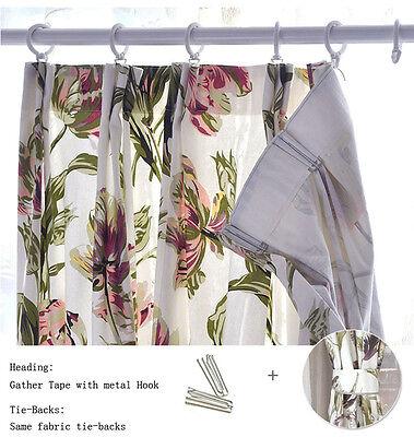 2 x115cm x230cm Pair of Curtains w//Tie Backs,Elegant Purple Iris Floral Prints