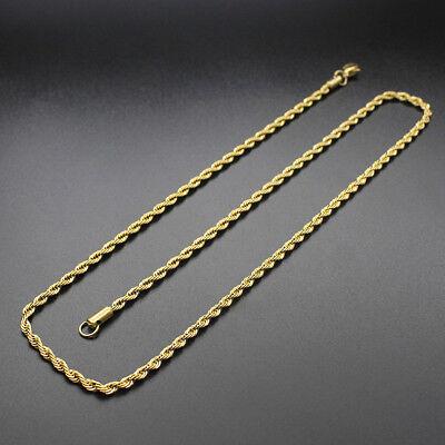 Collar/Cadena para hombres y mujeres de Acero inoxidable titanio Oro negro 3 5mm 3