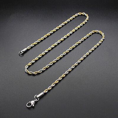 Collar/Cadena para hombres y mujeres de Acero inoxidable titanio Oro negro 3 5mm 4