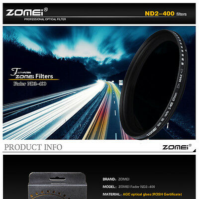 ZOMEI 52/55/58/62/67/72/77/82mm Adjustable Neutral Density Fader  filter ND2-400 5