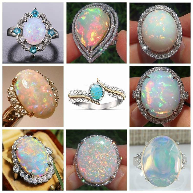925 Sterling Silver Fire Opal Moonstone Rings Wedding Jewelry Sz#6-10 Rings Gift 3