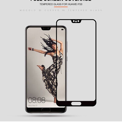 For Huawei P20 Pro Lite Premium Full Cover Tempered Glass Film Screen Protector 4