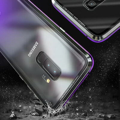 For Samsung Galaxy S8 S9 S10 Magnetic Adsorption Metal Case Tempered Glass Cover 5