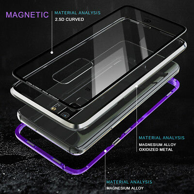 For Samsung Galaxy S8 S9 S10 Magnetic Adsorption Metal Case Tempered Glass Cover 7