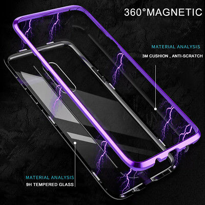 For Samsung Galaxy S8 S9 S10 Magnetic Adsorption Metal Case Tempered Glass Cover 2