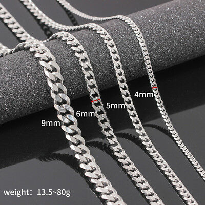 "Mens Curb Chain 925 Sterling Silver Filled Plated Necklace 20"" - 26"" 4MM 6MM 9MM 2"