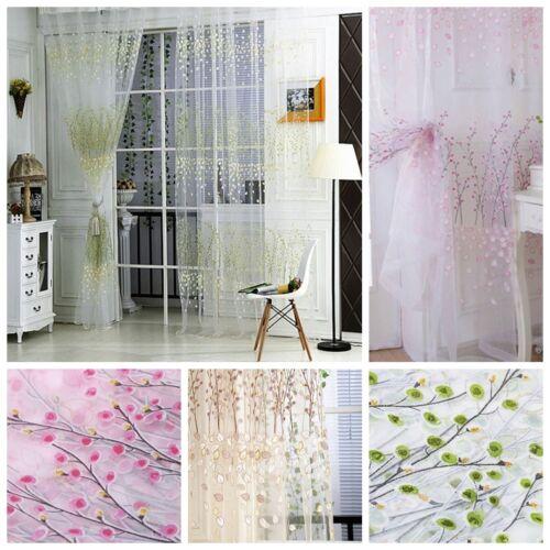 Rideaux voilage 100 200cm imprim floral d coration for Decoration maison rideaux fenetre