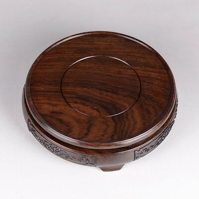 """Pedestal for Large Spheres and Eggs 2.7/"""" Black Wood Round Display Stand"""