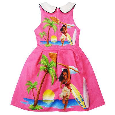 US Stock Lovely Girls Moana Long Sleeve Party Holiday Birthday Dress Costume O24