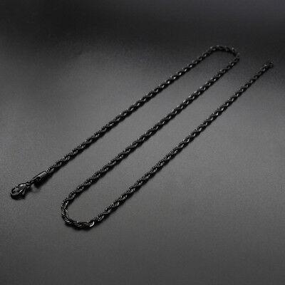Collar/Cadena para hombres y mujeres de Acero inoxidable titanio Oro negro 3 5mm 5