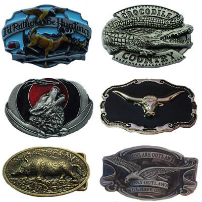 Western Men's Alloy Leather Belt Buckle Vintage Cowboy Pattern 38/40MM 5