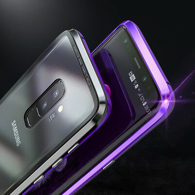 For Samsung Galaxy S8 S9 S10 Magnetic Adsorption Metal Case Tempered Glass Cover 6