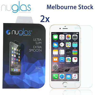 2x Nuglas Tempered Glass Screen Protector For iPhone XS Max X 8 7 6 6S Plus 2