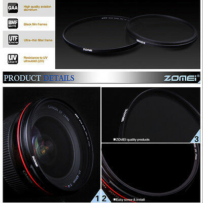 ZoMei Ultra Slim AGC Optical Glass UV Ultra Violet Lens Filter - 40.5-86mm 3