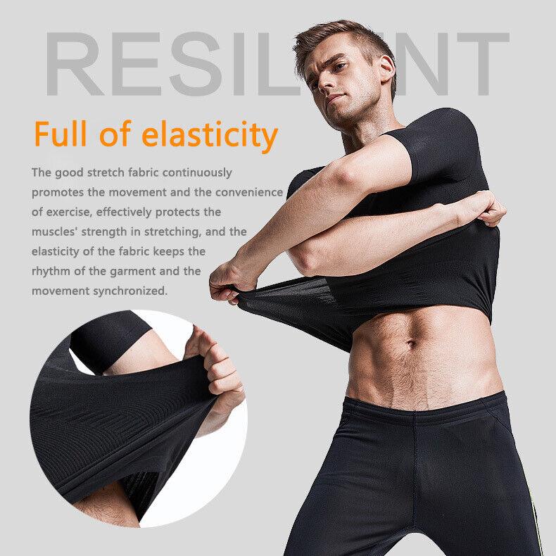 Men's Ultra Lift Body Slimming Seamless Body Shaper Vest Abdomen T-Shirt Cami 7