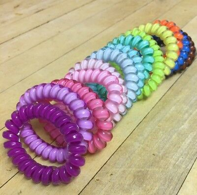5pcs Girl Gel Stretch Plastic Spiral Phone Cord Hair Ties Band Coil High  Quality ff31a094a3c