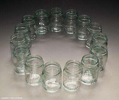 15 x kleine Gläser aus Apotheke für Cremes und Salben um 1935 6