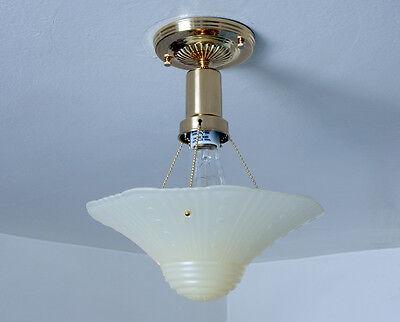 War Era Beaded Chain Light Fixture Vintage Glass Shade New Custom Brass Fixture