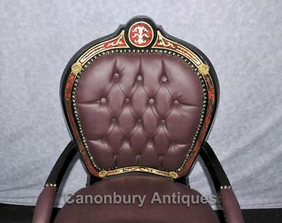 Pair French Boulle Arm Chairs Louis XV Fauteil Chair 3