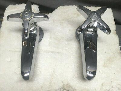 Pair Chrome Separate Hot Cold Cross Handle Faucets Vintage 199-19L 2