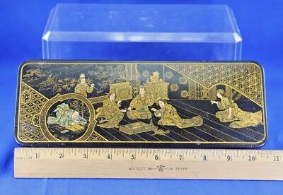 Antique Asian Lacquer Box With Gold Hand Painted Interior Scene 11