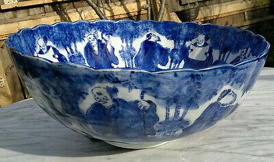 "Large Antique Japanese Imari Porcelain Bowl Scalloped Rimmed Meiji Period 13""dia 6"